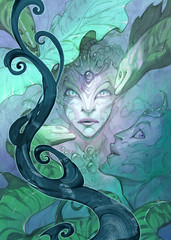 Fantasy portrait illustration of a beautiful and sinister sea creature mermaids with their pet eels
