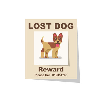 Lost dog. Reward for the find. Missing poster. Lost puppy poster. Sheet with the announcement of disappearance of pet on bulletin board. Vector illustration flat design. Isolated on white background.