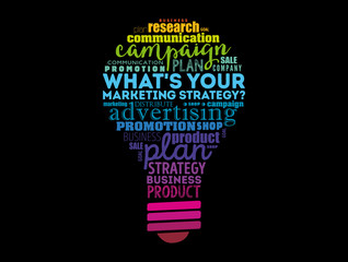 What's Your Marketing Strategy light bulb word cloud, business concept background