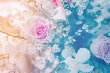 Bouquet roses soft blur background beautiful flowers vintage pastel tones
