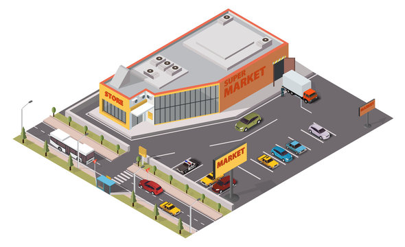 The supermarket and parking isometric view
