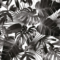 Wall Mural - graphic palm leaves seamless background