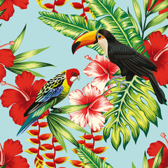 Foto auf Gartenposter Botanisch tropical birds and flowers seamless background