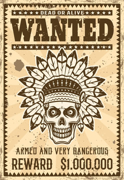 Indian chief skull wanted poster in vintage style