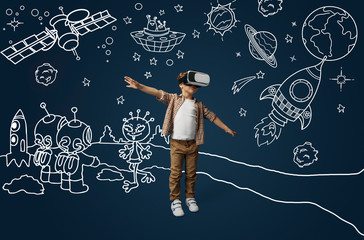 Painted dream about flying as an aircraft or rocket in cosmos. Little boy or child with virtual reality headset glasses. Concept of cutting edge technology, video games, innovation, childhood, dreams.