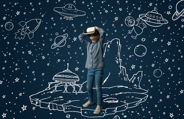 Painted dream about traveling in outer space or cosmos. Little girl or child with virtual reality headset glasses. Concept of cutting edge technology, video games, innovation, childhood, dreams.