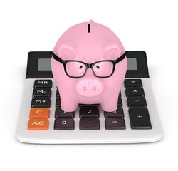 3d render of piggy bank with clock