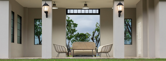 Modern Sofa and furniture.(Panorama picture)