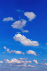 Beautiful blue sky with white clouds as a natural background.