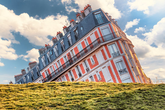 Crooked perspective on famous building from the Montmartre hill in Paris, France.
