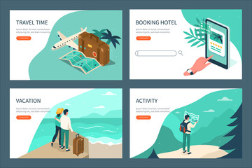 Travel and tourism booking concept templates. Can use for web banner, infographics, hero images. Flat isometric vector illustration.