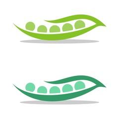Green Seed Pea Pod Logo Template