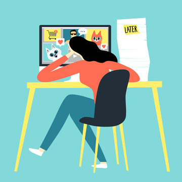 Girl watching funny pictures and video  instead of working.