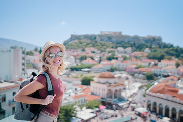Printed kitchen splashbacks Athens Enjoying vacation in Greece. Young traveling woman with rucksack enjoying view of Athens city and Acropolis.