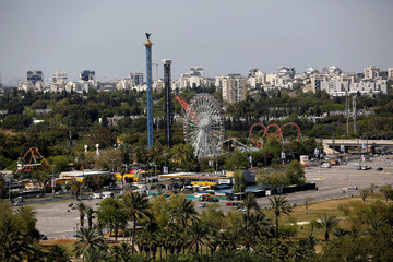 An amusement park is seen in this general view picture of Tel Aviv, Israel
