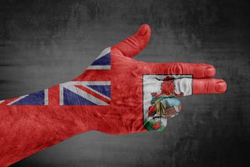 Bermuda flag painted on male hand like a gun