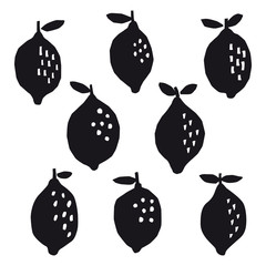 Black and white paper cut style lemon collection