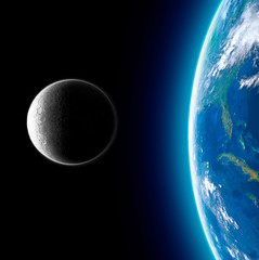 Moon and earth seen from space. Lunar surface and earth in the background. The earth seen from the moon. 50th anniversary of the lunar landing. Elements of this image are furnished by Nasa