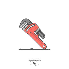Red pipe wrench - Line color icon