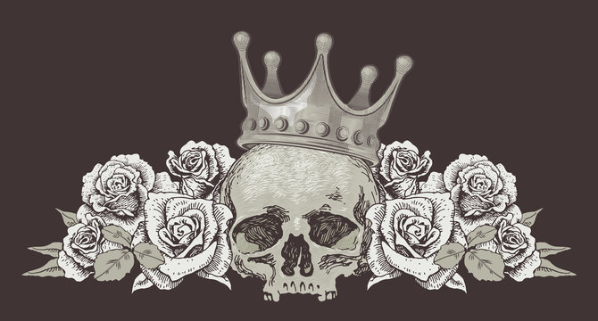 vector image of a skull with roses sketch for tattoo guns ribbons with inscriptions blood and costeans graphics engraving