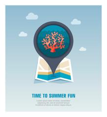 Coral pin map icon. Summer. Vacation