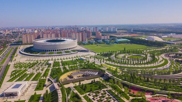 Krasnodar, Russia - May 2019: Aerial view of Krasnodar Stadium and the Galitsky park