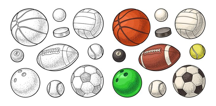 Set sport balls icons. Engraving color illustration. Isolated on white