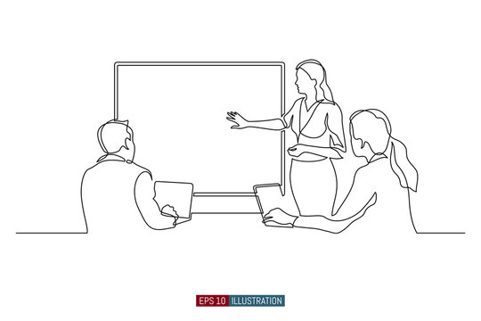 Continuous line drawing of business brief, presentation or training. Template for your design works. Vector illustration.