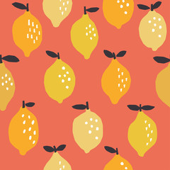 vector seamless pattern with yellow lemon on pink background