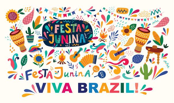 Beautiful vector illustration with design for Brazil holiday Festa Junina