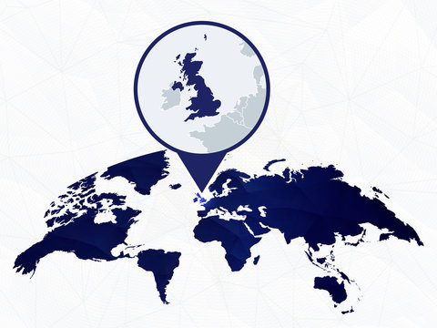 United Kingdom detailed map highlighted on blue rounded World Map.