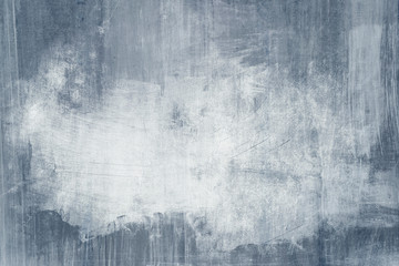 Fototapeta Blue distressed wall grungy background with spotlight background