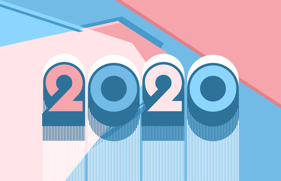 Vector illustration abstract background of different geometric shapes and lettering 2020 and calendar. For stylish design of printing and web design in blue and pink coral tones.