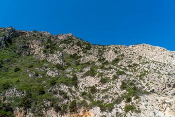 mediterranean mountain with blue sky