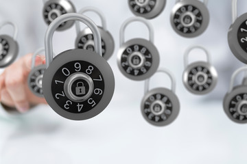 secure lock - padlock holding in hand access concept 3d