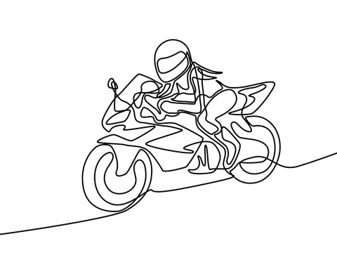 Continuous one line woman in helmet ride on motorcycle