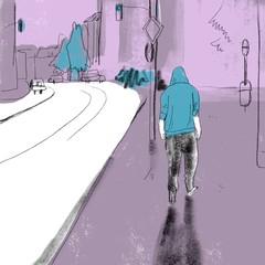 Illustration of man in hoodie walking on street
