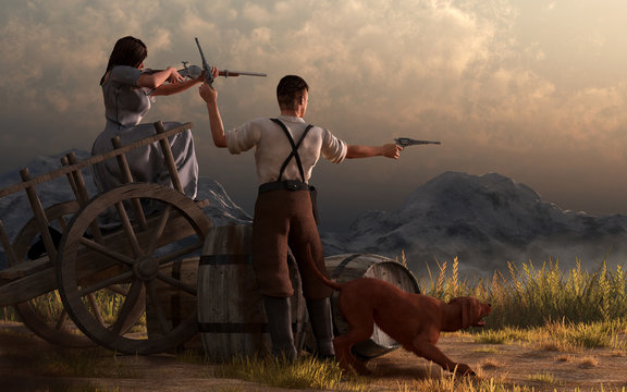 In this Western scene, a man, a woman, and their dog make a last stand on an old wooden cart in the Wild West. The woman files a rifle, while the man shoots pistols. 3D Rendering