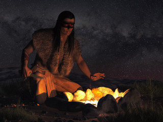 A Native American warrior sits by a campfire in the dark of night somewhere in the plains of the American Wild West.  Wearing warpaint on his face, he looks at you, knife in hand. 3D Rendering