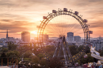 View over the Prater with the Ferris Wheel and Skyline, Vienna, Austria
