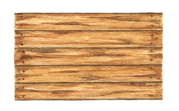 Old wood plank on white background, Watercolor painting.
