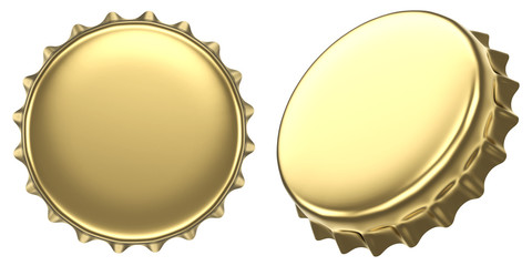 Blank golden beer bottle cap