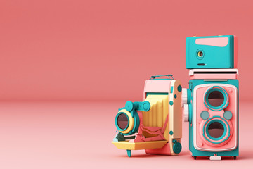 Colorful vintage camera on a pink background.-3d render. Wall mural