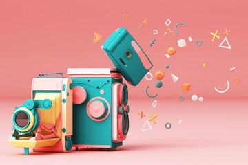 Colorful vintage camera surrounding by memphis pattern on a pink background.-3d render.