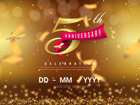 5 years anniversary logo template on gold background. 5th celebrating golden numbers with red ribbon vector and confetti isolated design elements