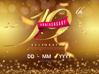 19 years anniversary logo template on gold background. 19th celebrating golden numbers with red ribbon vector and confetti isolated design elements