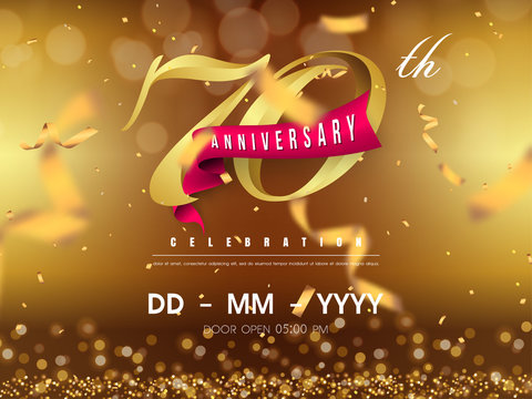 70 years anniversary logo template on gold background. 70th celebrating golden numbers with red ribbon vector and confetti isolated design elements