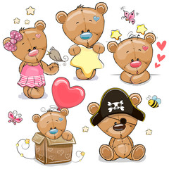 Set of Cartoon Teddy Bears on a white background