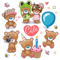 Set of Cartoon Teddy Bears on a white background