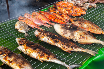 Assortment of grilled fish and shrimps